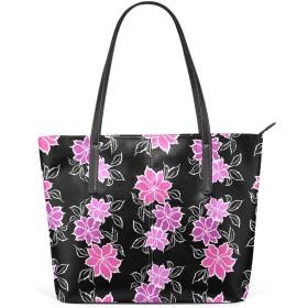 (VAWA) トートバッグ レディース 大容量 おしゃれ 和柄 花柄 ピンク ブラック 革 ハンドバッグ a4 マザーズバッグ 手提げ 肩掛け 2way 軽量 通勤 通学