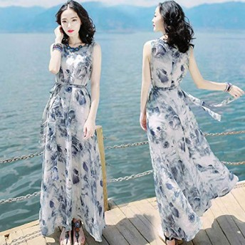 ACHICOO ワンピース ドレス 海辺 夏 ノースリーブワンピース ボヘミアンロング ビーチドレス L