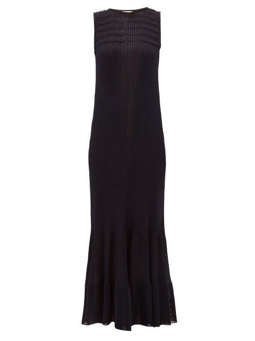 Maison Rabih Kayrouz - Smocked Knitted Maxi Dress - Womens - Navy
