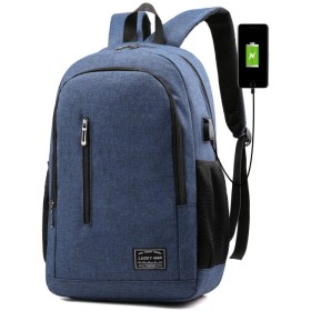 新しいビジネスメンズバックパックトレンディな旅行バッグカジュアルなスクールバッグ15.6インチブルーに適したシンプルなファッションコンピューターバッグ-ダークブルー