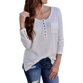 女性の長袖ラウンドネックボタンニットTシャツソリッド秋のトップスカジュアルブラウス (色 : ホワイト, サイズ : S)