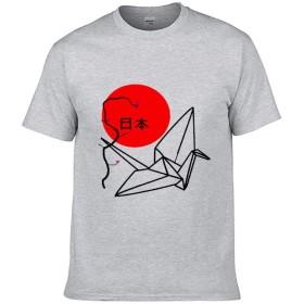 Tシャツ 日本 折り鶴 桜 平安 お祈り トップス メンズ 丸首 吸汗通気 スタイリッシュ 男女兼用 インナーシャツ