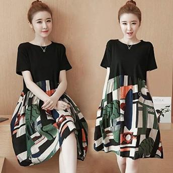 ACHICOO ワンピース ドレス 半袖 Aライン ドレス 女性 夏 ファッション 印刷スプライス ルーズ L [40〜50kg]