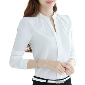Tシャツ レディース 日韓風 シフォン トップス 無地 フォーマル レディース 快適な 柔らかい 軽い ヒップシャツ 吸汗速乾 カジュアル ラペル ホワイト XL