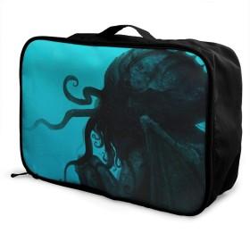 折りたたみ旅行バッグ キャリーオンバッグ ボストンバッグ 軽量 大容量 トラベルバッグ 収納バッグ 折りたたみ 旅行 収納ポーチ 機内持込可 スーツケース固定可 クトゥルフ神話 男女兼用