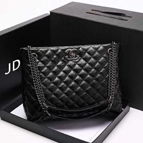 Huanglian 大規模な2019新しいヨーロッパとアメリカの小さな香りの風のダイヤモンド格子チェーンバッグバッグ女性革ハンドバッグショルダーメッセンジャーのラップトップバッグ (色 : Black4)