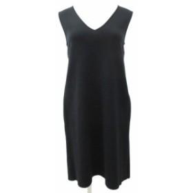 【中古】フォクシー FOXEY 19SS ワンピース ミニ Vネック ミラノリブ ノースリーブ ドレス 38 Mサイズ 黒 ブラック