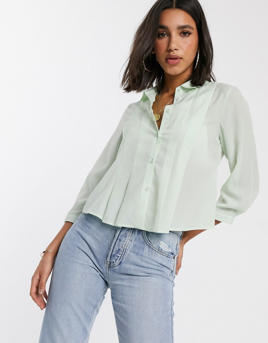 Y.A.S boxy pleated shirt-Blue