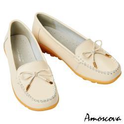 【Amoscova】手工真皮氣質蝴蝶結休閒鞋1908