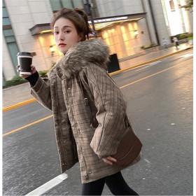 ◆送料無料◆シンプルなコート 格子縞のフード付きの綿の女性のジッパー INSファッション 中・長セクション チェック柄 レトロ トレンディなファーカラー コートコットンスーツ