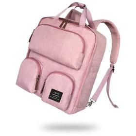 マザーズバッグ 実用おむつバッグ防水旅行おむつバックパック広々としたベビーバッグ多機能看護ショルダーバッグミイラと赤ちゃん 出産お祝い (Color : Pink)