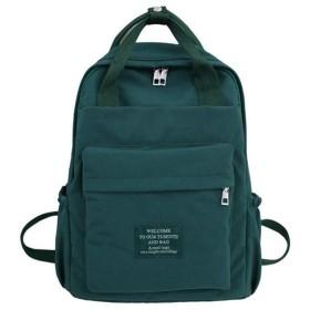 ソリッドカラーの肩スクールバッグ、高校生大容量バックパック、防水ナイロンバックパック女性デイパックリュックサック(39  12  28センチメートル) (Color : Green)