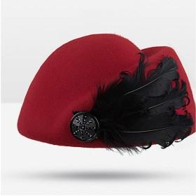 XIANYUNDIAN の女性エレガントなレトロウールフェルト帽子ボートの羽のスチュワーデス帽子ベレー帽キャップレディースピュアウールジャズ冬暖かいファッション帽子レディースニュースボーイキャップ キャスケットベレー帽ハット (Color : Red, Size : 56-58cm)