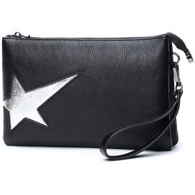 KAKACITY クラッチバッグイブニングバッグファッションレトロトレンド投げられショルダーバッグレディース財布 (色 : ブラック)