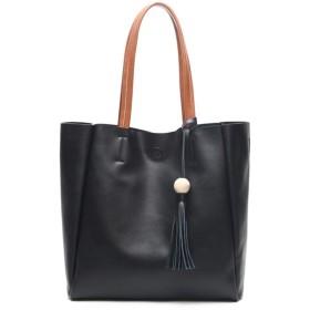 新しいファッションシンプルな多機能大容量ショルダーバッグショルダースリングレザーハンドバッグ 絶妙な美しさ (色 : Black)