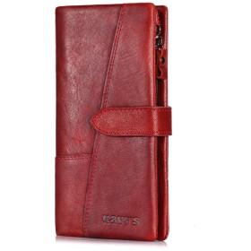メンズ財布 男性と女性の両方のショッピング旅行財布ハンドバッグスリム財布ジッパーバッグ大容量毎日使用財布のためのロングレザービジネスギフト 多機能 大容量 (Color : Red)