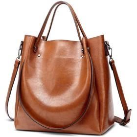 ハンドバッグ、ヨーロッパやアメリカのシンプルかつファッショナブルな野生のトートバッグ、レディースショルダーバッグメッセンジャーバッグ、大容量のレザーバッグ、30  12  29センチメートル 繊細なハードウェア (Color : Brown)