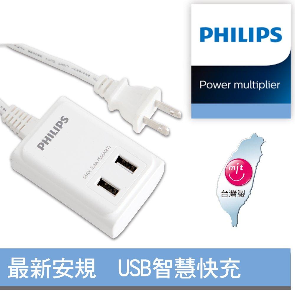 Philips 飛利浦 USB智慧快充電源線 SPB1402WA 白色