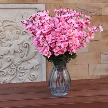 FLAMEER 人工桃の花7茎家の装飾のピンクのシルクフラワーブーケ - ピンク