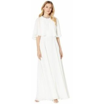 カルバンクライン レディース ワンピース トップス Popover Cape Gown w/ Embellished Neck Cream