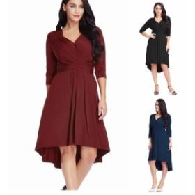 【 L ~ 5XL 】 送料無料 大きいサイズ レディース 夏 プラスサイズ ドレス カジュアル 長袖 ロングフィッシュ テール スカート 4XL 3XL