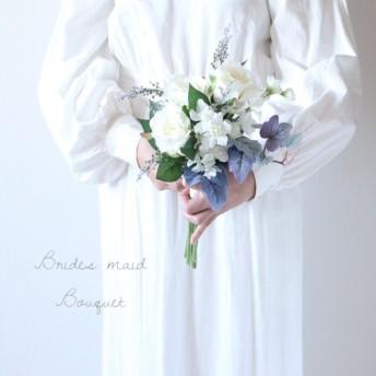 ホワイトローズとブルーのベリーのブライズメイドブーケ wedding bouquet