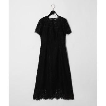 【オンワード】 GRACE CONTINENTAL(グレースコンチネンタル) フラワーレースドレス ブラック 36 レディース 【送料無料】
