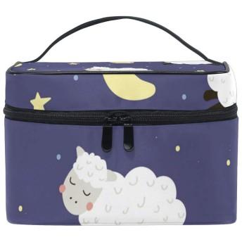 かわいい動物羊ムーンスター 化粧ポーチ 旅行用化粧品バッグ 大容量 旅行 化粧 ポーチ 収納