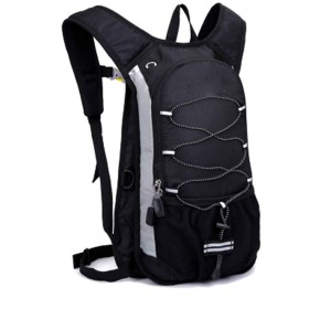 登山バッグ 軽量ハイキングバックパック男性と女性の多機能登山バッグサイクリングバックパック 旅行用バックパック (Color : Black, Size : 12L)