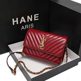 Huanglian 2019小さな正方形のダイヤモンド格子のチェーンバッグ新しいファッション野生の小さな香りの風ハンドバッグショルダーメッセンジャーバッグ (色 : Red)