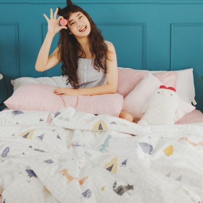 絲薇諾 MIT精梳純棉 白日夢櫻粉 雙人加大6尺 薄床包薄被套組