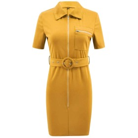 女性ファッション半袖ターフロントペンシルボディコンドレス