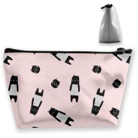 かわいい漫画猫 化粧ポーチ メイクポーチ ミニ 財布 機能的 大容量 ポータブル 収納 小物入れ 普段使い 出張 旅行 ビーチサイド旅行