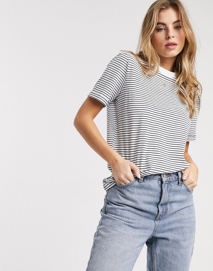 Pieces t-shirt in white and navy stripe-Multi