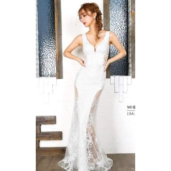 AngelR エンジェルアール フラワーレースデザインタイトロングドレス AR9834 (ホワイト, Sサイズ)