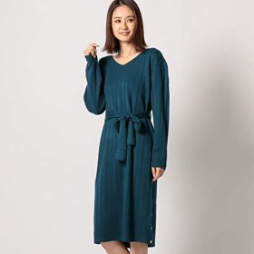 ミューズ リファインド クローズ(MEW'S REFINED CLOTHES) ワイドリブ裾ボタンワンピース【グリーン/M】