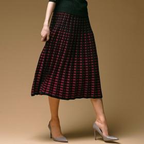 Ranan <日本製>チェック柄ニットスカート LL レディース 5,000円(税抜)以上購入で送料無料 フレアスカート 夏 レディースファッション アパレル 通販 大きいサイズ コーデ 安い おしゃれ お洒落 20代 30代 40代 50代 女性 スカート