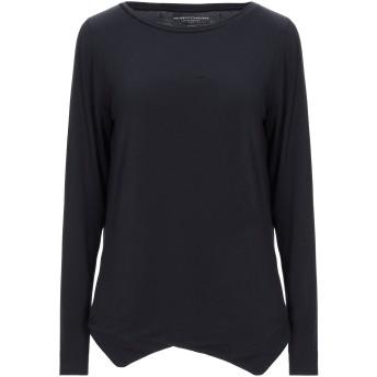《セール開催中》MAJESTIC FILATURES レディース T シャツ ブラック 1 レーヨン 94% / ポリウレタン 6%