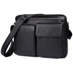 メンズレザークロスボディバッグマルチポケットショルダーバッグ屋外の乗馬バッグ荷物バッグ ビジネスバッグ (色 : Black, サイズ : M)