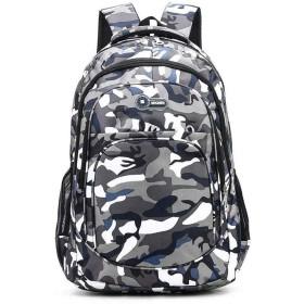 迷彩レジャースクールバッグ、大容量ポータブル旅行バックパックの肩、複数のコンパートメント学生ユニセックスリュックサックデイパック(35  13  27センチメートル) (Color : Green)