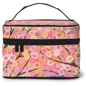 メイクポーチ 化粧ポーチ コスメバッグ バニティケース トラベルポーチ 油絵 ピンク 雑貨 小物入れ 出張用 超軽量 機能的 大容量 収納ボックス