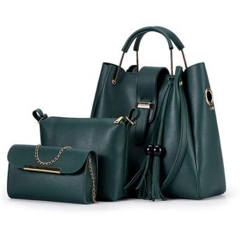 LoveAloe女性シンプルなスリーピースレザーハンドバッグ高容量屋外単色バッグ、みどり