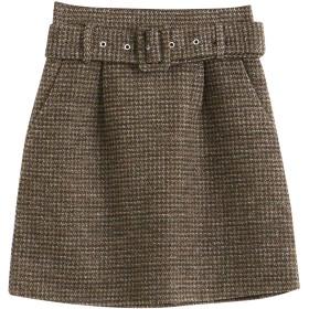 (マジェスティックレゴン) MAJESTIC LEGON 太ベルト付ツィードスカート S ブラウン柄
