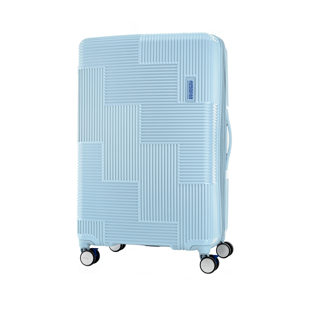 AT 美國旅行者 30吋Velton 跳色幾何防盜拉鍊可擴充剎車輪行李箱 粉藍 GL7*71011