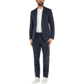 《セール開催中》LARDINI メンズ スーツ ダークブルー 54 コットン 76% / リネン 21% / ポリウレタン 3%