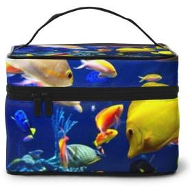 メイクポーチ 化粧ポーチ コスメバッグ バニティケース トラベルポーチ 水中 魚 雑貨 小物入れ 出張用 超軽量 機能的 大容量 収納ボックス