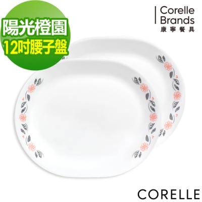 美國康寧 CORELLE 陽光橙園大魚大肉腰子盤2入組 B01