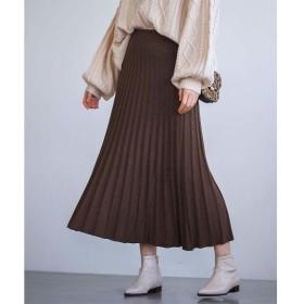 GeeRA ニットプリーツフレアースカート ブラウン L レディース 5,000円(税抜)以上購入で送料無料 フレアスカート 夏 レディースファッション アパレル 通販 大きいサイズ コーデ 安い おしゃれ お洒落 20代 30代 40代 50代 女性 スカート