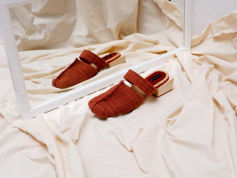 騾子方頭平底鞋工作服休閒裝