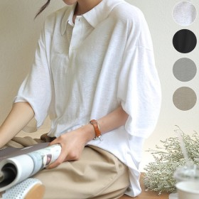 Tシャツ レディース 半袖 ポロシャツ カジュアル おしゃれ 大きいサイズ 体型カバー ゆったり カットソー トップス (メール便送料無料) (t579)